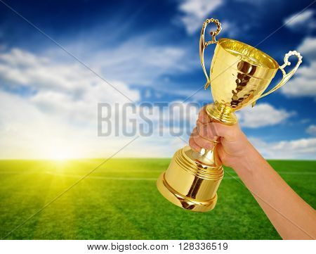 Man holding a champion golden trophy