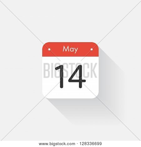 Calendar Icon with long shadow. Flat style. Date, day and month. Reminder. Vector illustration. Organizer application, app symbol. Ui. User interface sign. May. 14
