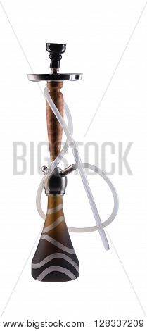 Modern hookah isolated on white background. Eastern smokable water pipe smoking on white background. Black hookah with black rubber tube and black flask isolated on white background.