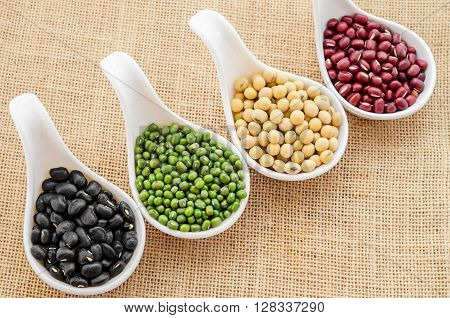 Mix of seeds beans green bean azuki or red bean soy bean and black bean on in white spoon on sack background.