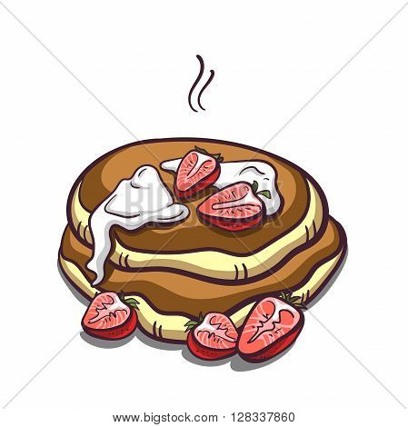 Hand drawn pancakes with cream and strawberries. Pancakes in cartoon style isolated on white background. Vector illustration.