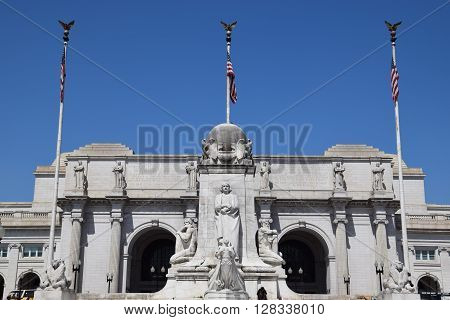 WASHINGTON, DC - APR 16: Columbus Statue at Union Station in Washington DC, as seen on April 16, 2016. Opened in 1907, it is Amtrak's headquarters.
