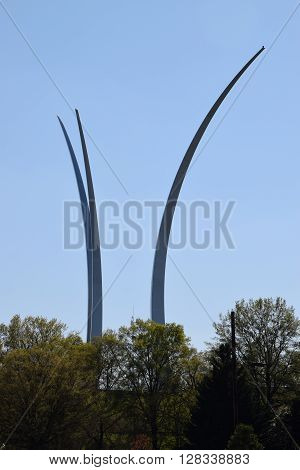 WASHINGTON, DC - APR 15: The United States Air Force Memorial in Washington, DC, as seen on April 15, 2016. The three memorial spires range from 201 feet to 270 feet high and appear to be soaring.