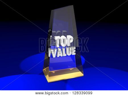 Top Value Rated Product Review Recommendation Award 3d Illustration