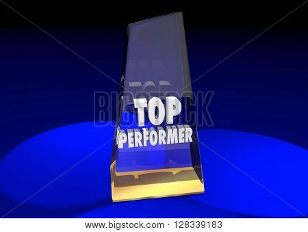 Top Performer Best Employee Worker Team Member 3d Illustration Award