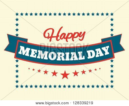 Text Happy Memorial Day stars vector illustration design banner or a stamp on white background EPS 10