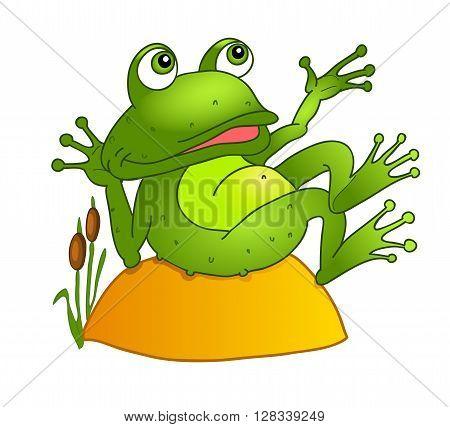 cartoon frog lying on a rock. vector illustration