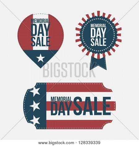 Memorial Day Sale vintage design Elements Set on white Background. Vector Illustration