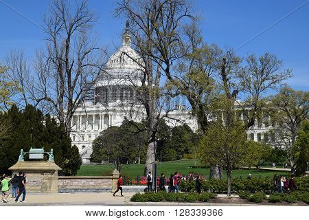 WASHINGTON, DC - APR 16: The US Capitol in Washington, DC, as seen on April 16, 2016. It is the seat of the United States Congress, the legislative branch of the U.S. federal government.