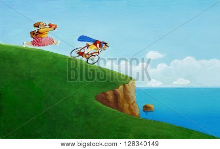a son ride recklessly on a cliff pursued by a panting mother holding a warm hat