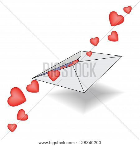 Incoming letter with declarations of love with hearts