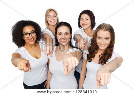 choice, friendship, body positive, gesture and people concept - group of happy different size women in white t-shirts pointing finger on you