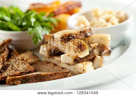 Smoked and Salted Pork with Bread and Herbs