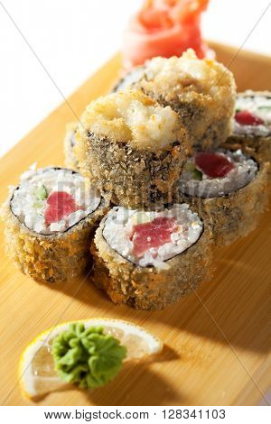 Tempura Maki Sushi - Deep Fried Roll made of Tuna and Salad Leaf inside