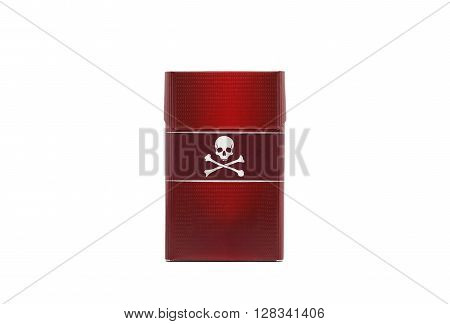 Red cigarette pack with a skull and crossbones logo