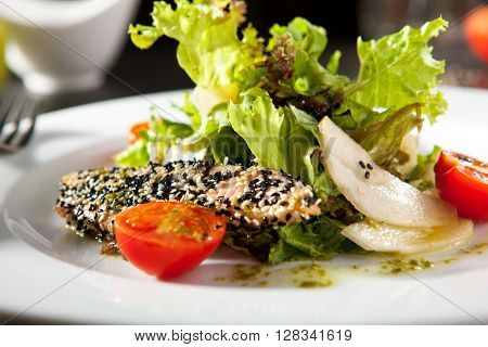 Salmon and Pear Salad with Sesame Dressing