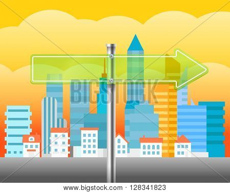 Cityscape with the glass board. City trafic illustration. Direction to the right
