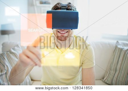 technology, gaming, forecast, entertainment and people concept - happy young man in virtual reality headset or 3d glasses with summer weather cast projection