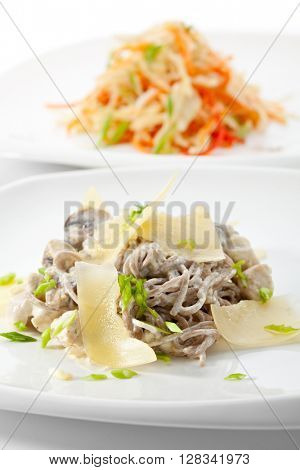 Vegetarian Spaghetti with Parmesan Cheese. Served with Healthy Salad