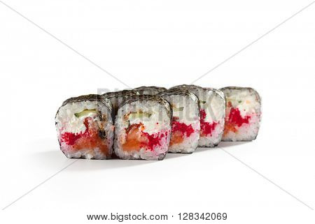 Roll made of Fresh Salmon, Smoked Eel, Tobiko and Cucumber inside. Nori outside