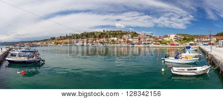 Panorama of Nea Skioni village, Halkidiki, Greece