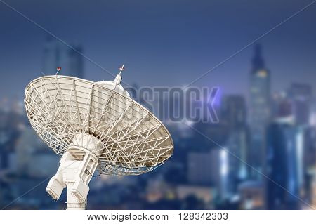 Satellite Dish Antenna Radar And Building Background