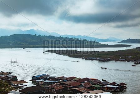Floating House In River At Sangkhlaburi District, Kanchanaburi Thailand In The Morning