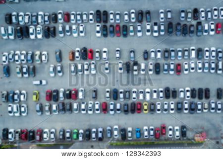 Abstract blur background of car parking shallow depth of focus top or aerial view