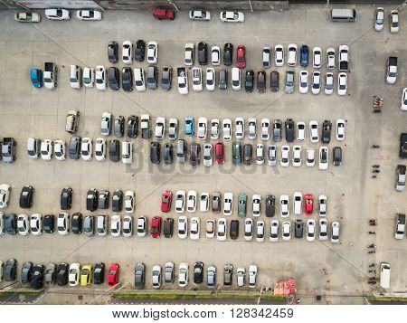 Abstract Blur Background Of Car Parking, Shallow Depth Of Focus, Top Or Aerial View