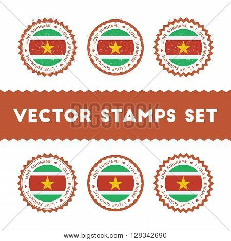 I Love Suriname Vector Stamps Set. Retro Patriotic Country Flag Badges. National Flags Vintage Round
