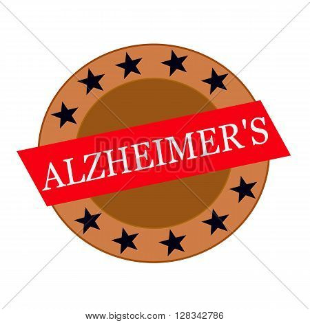 ALZHEIMER'S white wording on Red Rectangle and Circle brown stars
