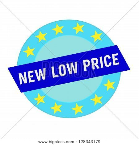 new low price white wording on blue Rectangle and Circle blue stars