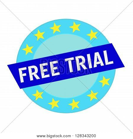 free trial white wording on blue Rectangle and Circle blue stars