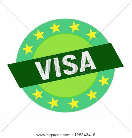 VISA white wording on green Rectangle and Circle green stars