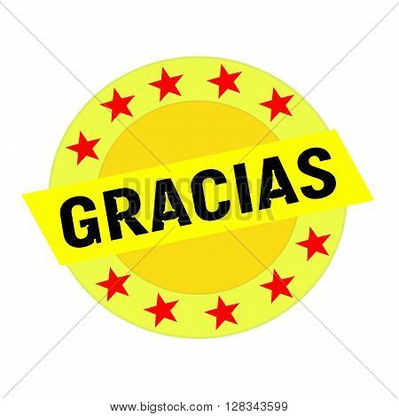 GRACIAS black wording on yellow Rectangle and Circle yellow stars