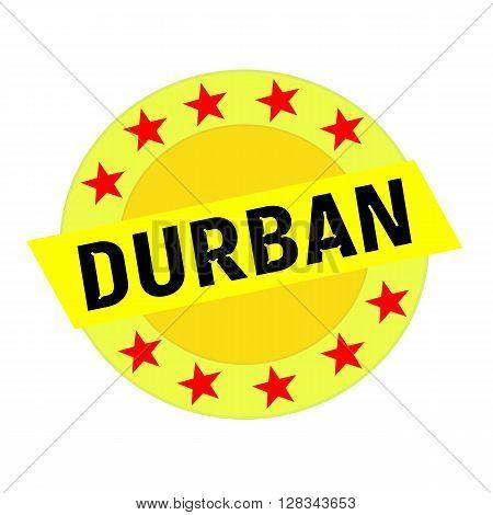 Durban black wording on yellow Rectangle and Circle yellow stars