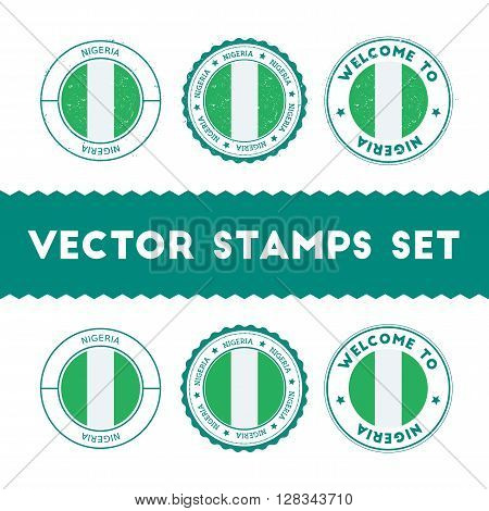 Nigerian Flag Rubber Stamps Set. National Flags Grunge Stamps. Country Round Badges Collection.