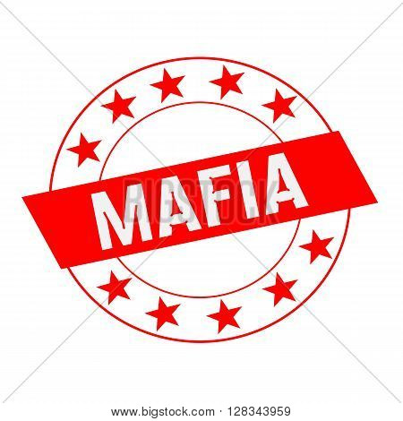 Mafia white wording on red Rectangle and Circle red stars