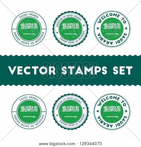 Saudi Arabian Flag Rubber Stamps Set. National Flags Grunge Stamps. Country Round Badges Collection.