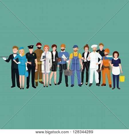 vector workers team, profession people uniform, cartoon vector illustration, people set