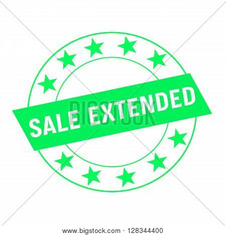 sale extended white wording on green Rectangle and Circle green stars