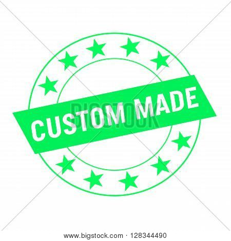 custom made white wording on green Rectangle and Circle green stars