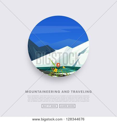 Mountaineering and Traveling Vector Illustration. Landscape with Mountain Peaks. Extreme Sports, Vacation and Outdoor Recreation Concept. Pine Forest.