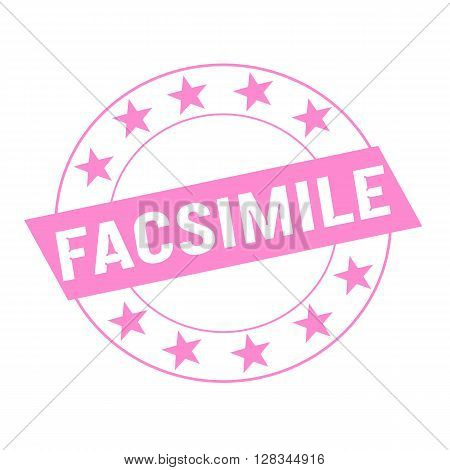 FACSIMILE white wording on pink Rectangle and Circle pink stars