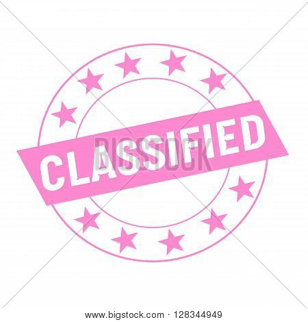 Classified white wording on pink Rectangle and Circle pink stars