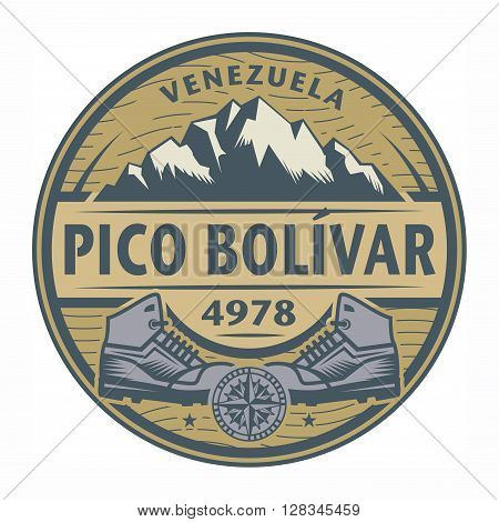Stamp or emblem with text Pico Bolivar, Venezuela, vector illustration