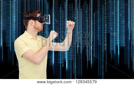 3d technology, virtual reality, entertainment and people concept - young man with virtual reality headset or 3d glasses playing game and fighting over binary code background