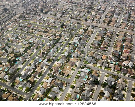 Aerial view of sprawling Southern California urban housing development.