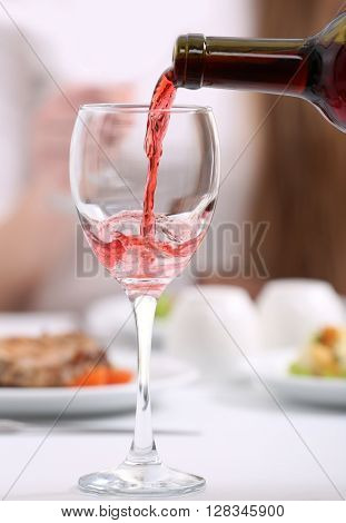 Dinner with wine in restaurant