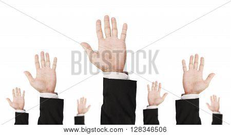 Hand of businessman raising upward, isolated on white background